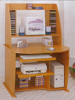 Picture of Comfortable Compact Oak Finish Computer Office Desk Hutch Unit (B0002KNMSK) (Computer Desks)