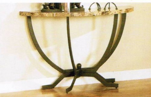 Image of Console Sofa Table with Marble Top - Black Finish (VF_F6181)