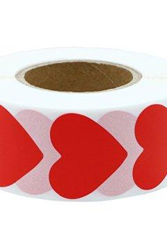 Livres Couvertures de Étiquettes colorées Hybsk 30mm Amour Cœur Stickers en papier naturel Étiquette adhésive 1000 par rouleau red