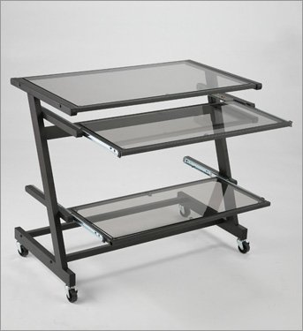Picture of Comfortable ITALMODERN Z Wide Computer Cart; Graphite Black (B001NMSD4E) (Computer Carts)