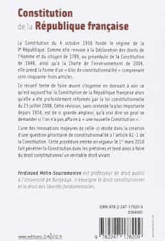 Livres Couvertures de Constitution de la République française. 2019