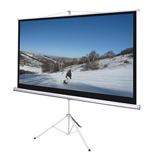 100-Inch-169-HD-Manual-Pull-Down-Projector-Screen-Foldable-Tripod-Stand-87x49-Matte-White