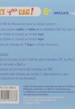 Livres Couvertures de Anglais 6ème Bet you can ! : Clé USB de ressource classe