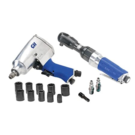 Auto maintenance is made easy with air tools, and this pack includes everything you need for repairs such as oil changes, tire rotations, tune-ups and radiator work. Set includes impact wrench, air ratchet and a variety of sockets, adapters and plugs...