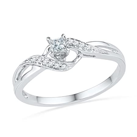 10KT White Gold Princess and Round Diamond Promise Ring (1/8 CTTW)