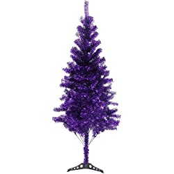 Hb 6' Ft Sparking Gorgeous Folding Artificial Tinsel Christmas Tree Purple Color 450 Tips
