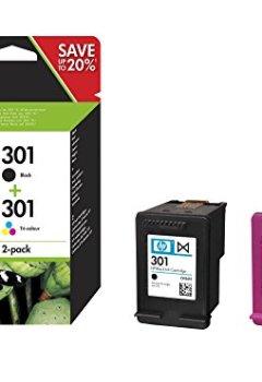 Livres Couvertures de HP 301 Pack de 2 Cartouches - 1 d'Encre Noir et 1 de Trois Couleurs (Cartouche Cyan, Magenta, Jaune) Authentiques (N9J72AE)