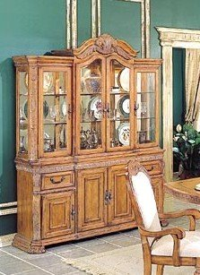 Image of Caspian Collection Hardwood China Cabinet /Buffet Hutch (VF_HE904-50)