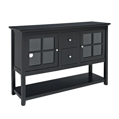 Image of WE Furniture 52-Inch Wood Console Table TV Stand, Black (SS52C4CTBL)