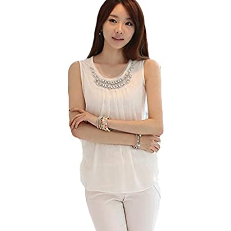 "Women's White Beaded Chiffon Shirts Blouse M US Size S(4)---Bust 31.2"" Waist 27.3"" Front Length 24.6"" Back Length 20.7"" L US Size M(8-10)---Bust 32.8"" Waist 30.4"" Front Length 25.4"" Back Length 21.5"" XL US Size  L(12)---Bust 33.9"" Waist 31.2"" F..."