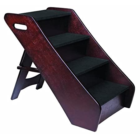 Safely get your pet to and from your bed, couch, chairs and other areas with the Animal Planet Wooden Pet Steps. Folding design allows you to conveniently store your pet steps when not in use.