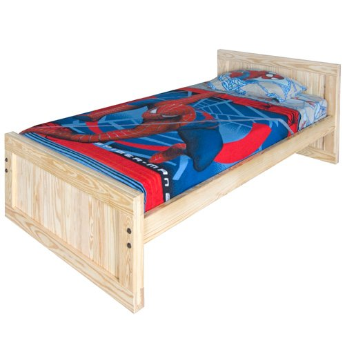 Image of Kids Captains Bed- Twin Size - Tall Headboard and Low Footboard with Trundle Option Solid Wood (B003H1W5XE)