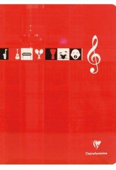 Livres Couvertures de ClaireFontaine - Réf 3307C - Cahier Piqué Musique et Chant 24x32 cm 48 Pages Grands Carreaux 90 g et Portées Coloris Aléatoire vendu à l'Unité