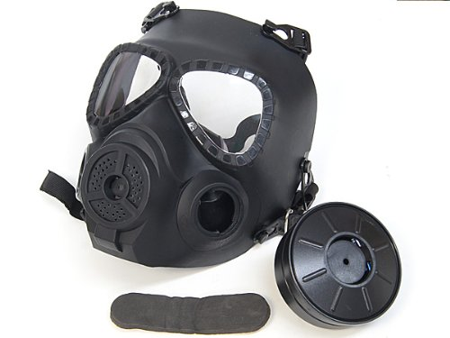 【電池可動の曇り防止ファン付】 M04 ガスマスク スタイル フルフェイスゴーグル BK
