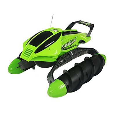 SZJJX-RC-Terrain-Twister-Boat-4WD-24G-Remote-Control-Tank-Vehicle-8-Channels-Amphibious-All-Terrain-Landing-Ship-LandWater-for-WaterFlat-GrandGrasslandSnowlandSand-BeachDesert-Green
