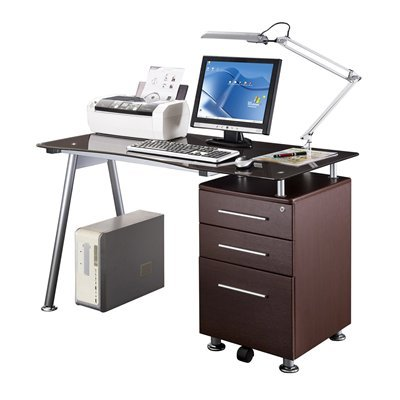Picture of Comfortable Mad Tech 30x23.75x47.25 Chocolate Glass Top & Steel Frame Computer Office Desk Table (B004W0MIOU) (Computer Desks)