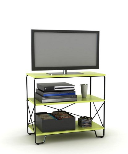 Image of Flat Panel LCD TV Stand with 3 Tier Lime Shelves (AZ00-49037x21337)