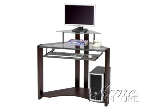 Picture of Comfortable Computer Desk with Glass Top and Glass Top Monitor Tier Acs000114 (B004SZ9QI0) (Computer Desks)
