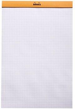 Livres Couvertures de Rhodia agrafé bloc-notes de 19200C et micro-perforé, A4, quadrillé, 80 g, 21 x 31,8 cm, 80 feuilles, orange