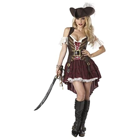 An adventurous high seas costume, this adventurous costume features a grommet trimmed bodice that elegantly frames the neck line, the tri-layered skirt is longer in the back for a sexy swagger, costume includes the pirate hat, detachable ruffled slee...