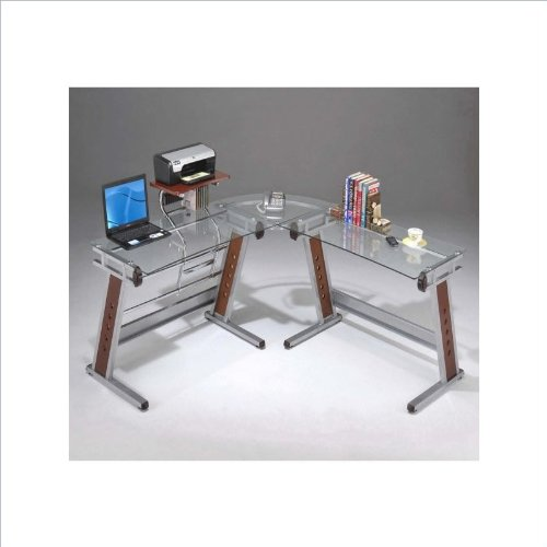 Picture of Comfortable Mad Tech 33.5x65.5x62.5 Clear Glass Panel & Steel Frame Computer Office Desk Table (B004W0MJEY) (Computer Desks)