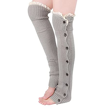 "Feature Material:Soft Acrylic Style: 8 Bottons with crochet lace Size: one size, measure 22"" from heel to top Occassion: All season Washing instruction: Hand wash with cold water, air dry Package: 1 pair leg warmer with Tirain packing gif..."