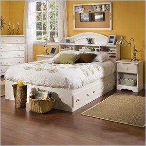 Image of South Shore Summer Breeze Kids Full Wood Bookcase Bed 3 Piece Bedroom Set in White Wash (3210211-3PKG)