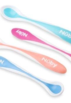 Livres Couvertures de Nûby Couverts - 4 cuillères thermosensibles avec bord doux en TPE +4 mois- Couleur Aleatoire