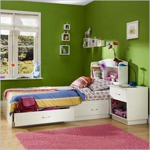 Image of South Shore Logik Kids Pure White Twin Wood Mates Storage Bed 3 Piece Bedroom Set (3360213-3PKG)