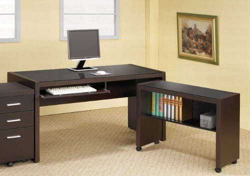 Picture of Comfortable Home Office Computer Desk with Cart in Cappuccino Finish (B003TPF4UY) (Computer Carts)