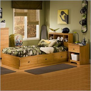 Image of South Shore Brinley Kids Twin Wood Captain's Bed 3 Piece Bedroom Set in Florence Maple (3575080-3PKG)
