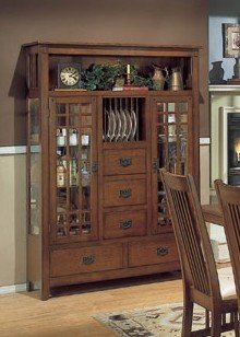 Image of Arts and Craft Collection Mission Style China Cabinet /Buffet Hutch (VF_HE749-50)