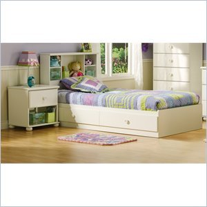 Image of South Shore Sand Castle Pure White Kids Twin Wood Mates Storage Bed 3 Piece Bedroom Set (3660213-3PKG)
