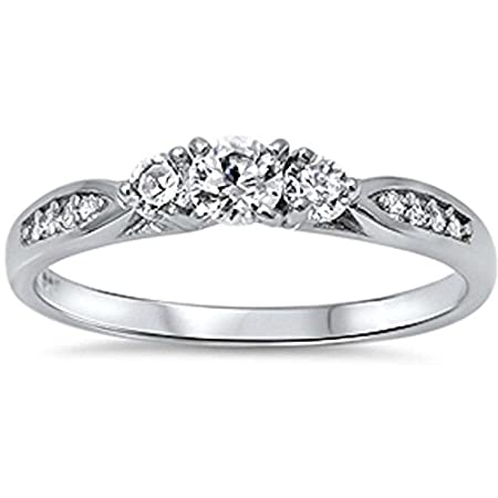 Cz Fashion Promise .925 Sterling Silver Ring Sizes 5-10