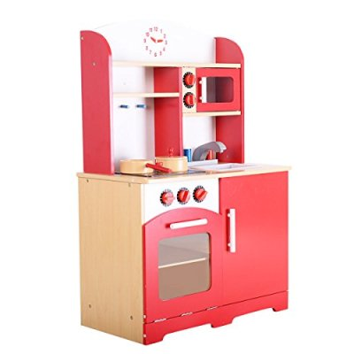 Giantex-Wood-Kitchen-Toy-Kids-Cooking-Pretend-Play-Set-Toddler-Wooden-Playset-red