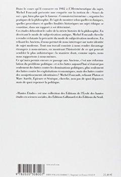 Livres Couvertures de L'Hermeneutique du sujet : Cours au Collège de France (1981-1982)
