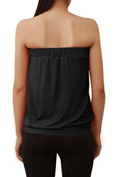 Livres Couvertures de Yidarton Femme Bustier Top Sexy Ete Décontracté Sans Manches Casual Vest Shirt Slim Plissé Froncé Haut Bandeau Tube Tee Shirt