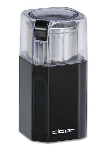 Cloer 7580 Elektrische Kaffeemühle, 200 W für 70 g Kaffeebohnen, abnembarer Edelstahlbehälter, schwarz