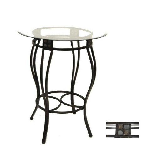Image of Metal Pub Table with Glass Top and Slate Inserts in Black/ Gold Finish (VF_BR-70516)