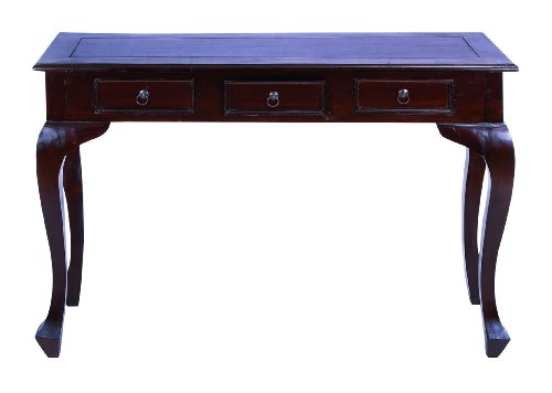 Image of Traditional Wooden Console Table with Metal Pulls & Curved Legs (B009D4VEDQ)