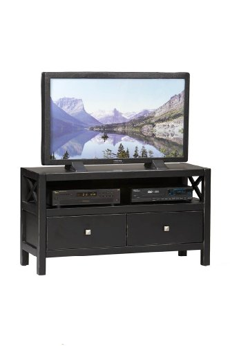 Image of Linon Anna Collection TV Stand in Antique Black Finish (B0076QK33A)
