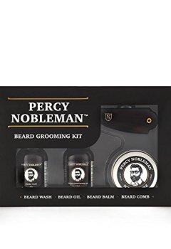 Livres Couvertures de Kit entretien de barbe par Percy Nobleman. Coffret-cadeau pour homme contenant une huile pour barbe, un shampooing pour barbe, une baume à barbe et un peigne