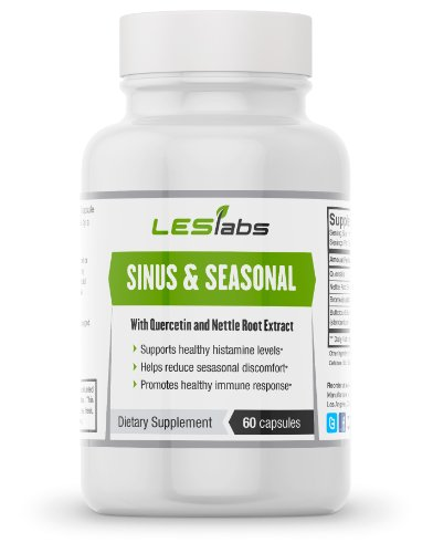 Sinus Health & Seasonal Discomfort Formula by LES Labs (60 Vegetarian Capsules with Quercetin, Bromelain, Nettle Root and Butterbur Extracts)