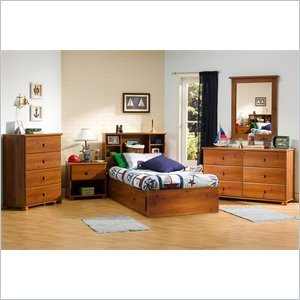 Image of South Shore Sand Castle Kids Twin Wood Mates Storage Bed 5 Piece Bedroom Set in Sunny Pine (3642-PKG)