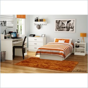 Image of South Shore Libra Kids Pure White Twin Wood Platform Bed 3 Piece Bedroom Set (3050235-3PKG)