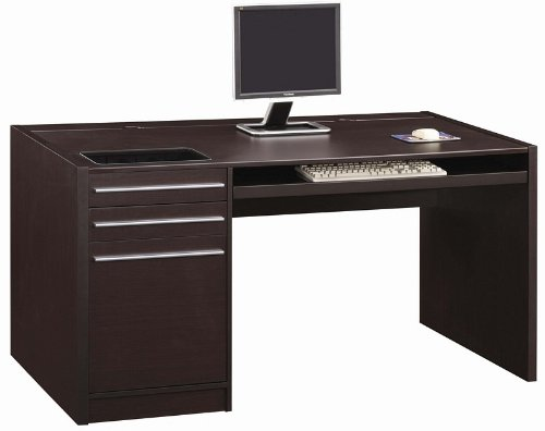 Picture of Comfortable Home Office Computer Desk with Storage Drawers in Cappuccino Finish (B0057POO3M) (Computer Desks)