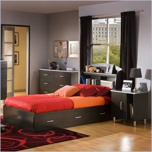 Image of South Shore Cosmos Kids Twin Wood Bookcase Bed 3 Pc Bedroom Set in Black Onyx/Charcoal (3127080-3PKG)