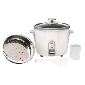 Zojirushi NHS-10 6-Cup Rice Cooker/Steamer This unit not only makes perfect rice every time, but we use it as a slow cooker & steamer too.  We love making meals in it – a bit of uncooked rice, can of black beans, can of Ro-tel, and yum!