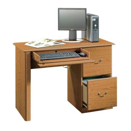 Picture of Comfortable Orchard Hills Computer Desk with File Drawers - Carolina Oak Finish (B003TLK1BK) (Computer Desks)