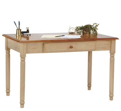 Picture of Comfortable Computer Desk with Slide Out Tray in Antique White Finish (B004XWYJCG) (Computer Desks)